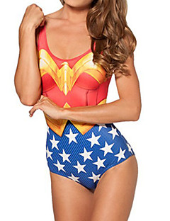 Cosplay Costume Super Hero Wonder Woman Spandex Print Red/Blue/Yellow Women's Swimsuit