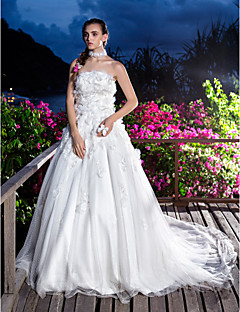 A-line/Princess Wedding Dress - Ivory Court Train Strapless Tulle/Lace