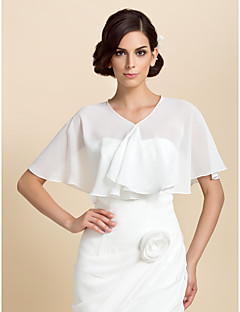Wedding  Wraps Capelets Short Sleeve Chiffon White Party/Evening Open Front