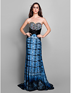 Formal Evening Dress - Print Plus Sizes Sheath/Column Sweetheart Sweep/Brush Train Chiffon