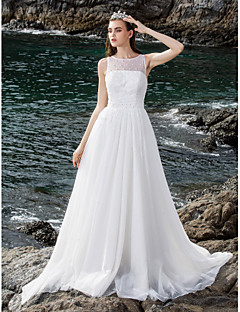 Lanting Bride Ball Gown Petite / Plus Sizes Wedding Dress-Floor-length Scoop Tulle