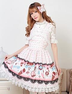 Rosa Söt Pretty Lolita Jag gillar glass Princess Dress Classy Lovely Cosplay