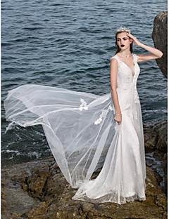 Lan Ting A-line Plus Sizes Wedding Dress - Ivory Sweep/Brush Train V-neck Charmeuse
