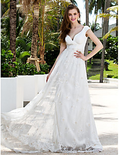 Lan Ting Sheath/Column Plus Sizes Wedding Dress - Ivory Sweep/Brush Train Off-the-shoulder Chiffon/Lace