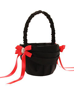 Flower Basket In Black Satin With Red Bows And Black Polyester Banding Flower Girl Basket
