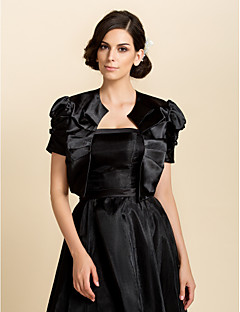 Wedding  Wraps Coats/Jackets Short Sleeve Satin Wedding / Party/Evening Juliette Sleeves Bow Open Front