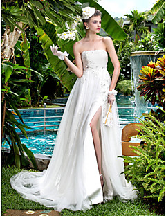 A-line Plus Sizes Wedding Dress - Ivory Court Train Strapless Tulle