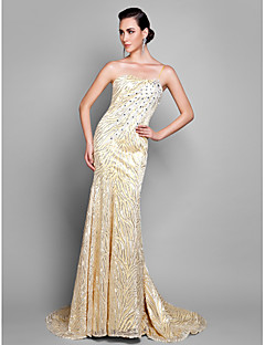 TS Couture Formal Evening Dress - Daffodil Plus Sizes / Petite Sheath/Column Spaghetti Straps Court Train Lace