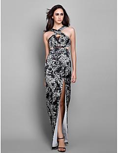 Balo / Resmi Akşam / Askeri Balo Elbise - Zarif / Çiçekli Sütun Askılı Yere Kadar Şifon ile Ayrık Ön