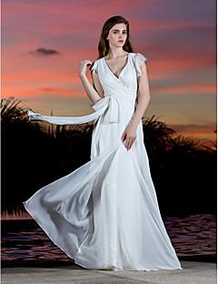 시스 / 칼럼 V-넥 바닥 길이 조젯 웨딩 드레스 와 허리끈/리본 리본 크리스-크로스 으로 LAN TING BRIDE®