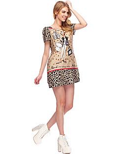 Das Mulheres SouthStoreA 2013 Speing Verão New Style Modern Fancywork O mesmo que vestido Collar Imprimir Rodada Fan Bingbing dos desenhos animados