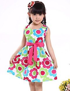 Girl's Floral Dress,Organic Cotton Summer Green
