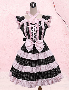 Современная девушка рукавов розовый и черный полосы шаблон Сладкая Лолита платье