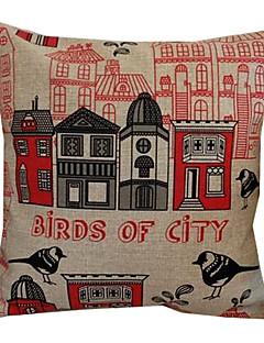 Oiseaux de la ville de coton / lin coussin décoratif couverture