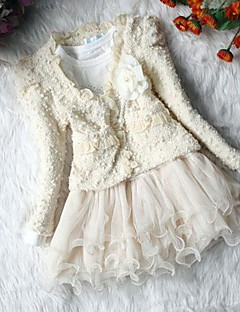 Girl's Fashion Flower Coats+ Dresses Clothing Sets Lovely Princess Clothing Set