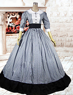 3/4-length Sleeve fotsid Gray Cotton Classic Lolita Dress