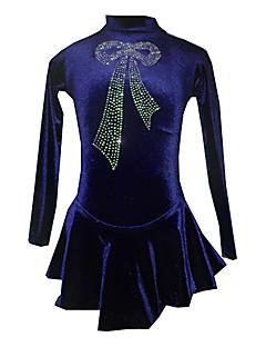 Flicka Blue Velvet konståkning Dress (Assorted storlek)