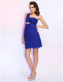 Homecoming Cocktail Party/Wedding Party Dress - Royal Blue Plus Sizes Sheath/Column One Shoulder Short/Mini Chiffon