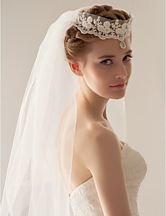 Two Tier Lace And Tulle Fingertips Wedding Veil