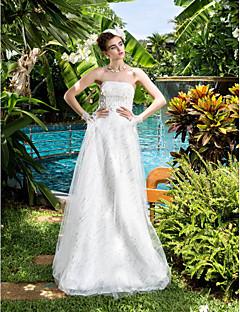 Lan Ting A-line Wedding Dress - Ivory Floor-length Strapless Satin