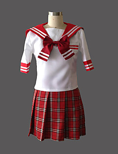 Cute Girl Red Check Pattern Jazz Wool Sailor School Uniform