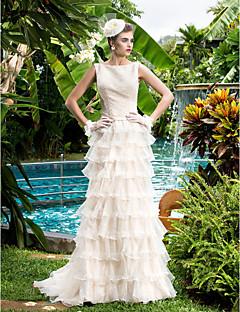 웨딩 드레스 - 샴페인 시스/컬럼 쿼트 트레인 바토 오르간자