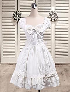 Pure Angel ermer knelang hvit bomull Søt Lolita kjole med Bow