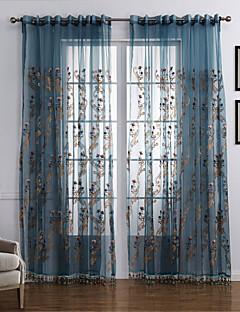 İki Panel Pencere Tedavi Neoklasik Yatakodası Polyester Malzeme Şeffaf Perde Shades Ev dekorasyonu For pencere