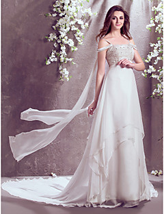 Lan Ting A-line Wedding Dress - Ivory Court Train Off-the-shoulder Chiffon