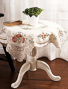 """carré de broderie florale de table beige tissu, dacron 33.5 """"* 33.5"""""""