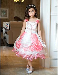 Ball Gown Tea-length Flower Girl Dress - Organza/Satin Sleeveless