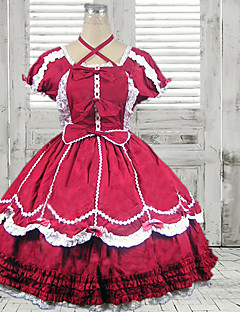 Kortermet knelang Red Cotton Classic Lolita Dress