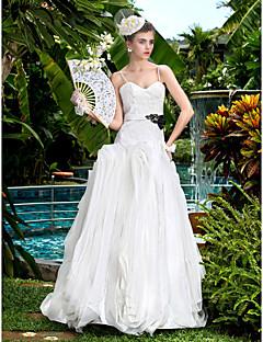A-line Wedding Dress - Ivory Floor-length Sweetheart Stretch Satin