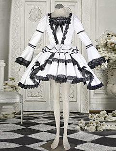 Naughty Girl Long Sleeve Short-length White Cotton Classic Lolita Dress