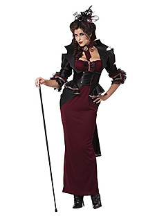 Lady Of The Manor Wine Red & Black Terylene Women's Halloween Costume