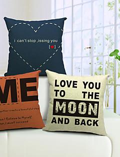 set om 3 moderna kärleks ord bomull / linne dekorativa örngott