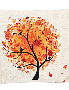 Country Fall Tree Cotton/Linen Decorative Pillow Cover