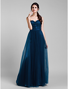 Lanting Bride® Floor-length Tulle Bridesmaid Dress - Convertible Dress A-line Plus Size / Petite with Ruffles / Side Draping