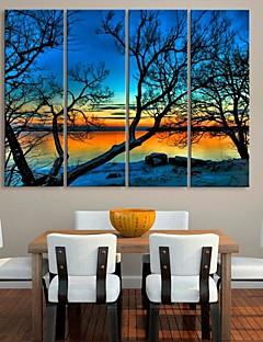 opgespannen doek kunst bomen door het meer landschap schilderij set van 4
