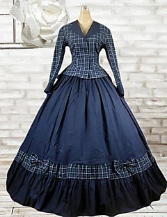 Long Sleeve Floor-length Ink Blue Cotton Classic Lolita Outfit