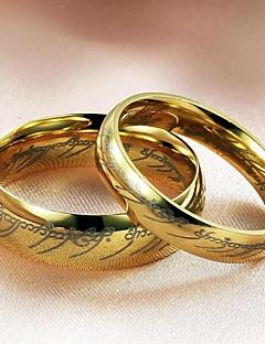 Gyűrűk Esküvő / Parti / Napi / Hétköznapi Ékszerek Titanium Acél Pár Páros gyűrűk5 / 6 / 7 / 8 / 9 / 10 / 11 / 12 Aranyozott