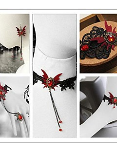 Vampire Aristocrat Red Butterfly Gothic Lolita Accessories Set(Bracelet/Necklace/Bangle/Hairpin/Earring)