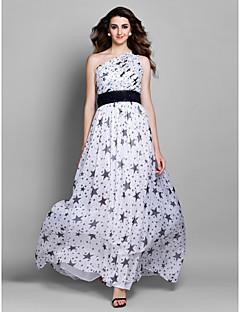 Prom/Formal Evening Dress - Print Plus Sizes Sheath/Column One Shoulder Floor-length Chiffon
