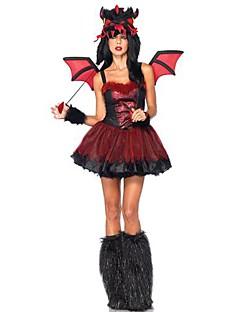 sangrenta diabo vermelho&traje das mulheres de poliéster preto do dia das bruxas