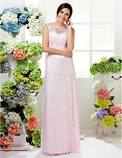 Lanting Bride® Floor-length Lace Bridesmaid Dress - Mini Me Sheath / Column Jewel Plus Size / Petite with Ruching