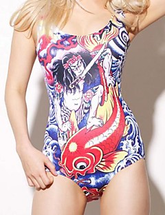 Brocade Carp And Warrior Print One Piece Spandex Swim Suit