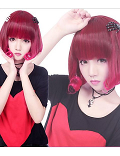 Zipper Cute Fairy Wine Red Short Bob Punk Lolita Wig