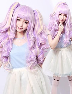 Zipper Mysterious Girl Purple Curly Pigtails Sweet Lolita Wig