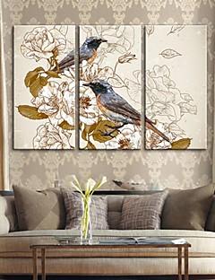 Lærredstryk art retro dekorative maleri blomster og fugle sæt med 3