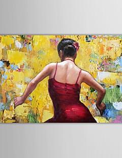 la gente la pintura al óleo pintada a mano bailando chica de rojo chica española con el marco estirado